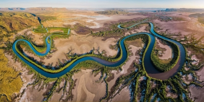 Drone shot of River in Outback Western Australia