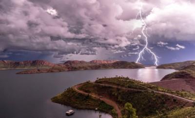 Lightening strikes in Outback Australia