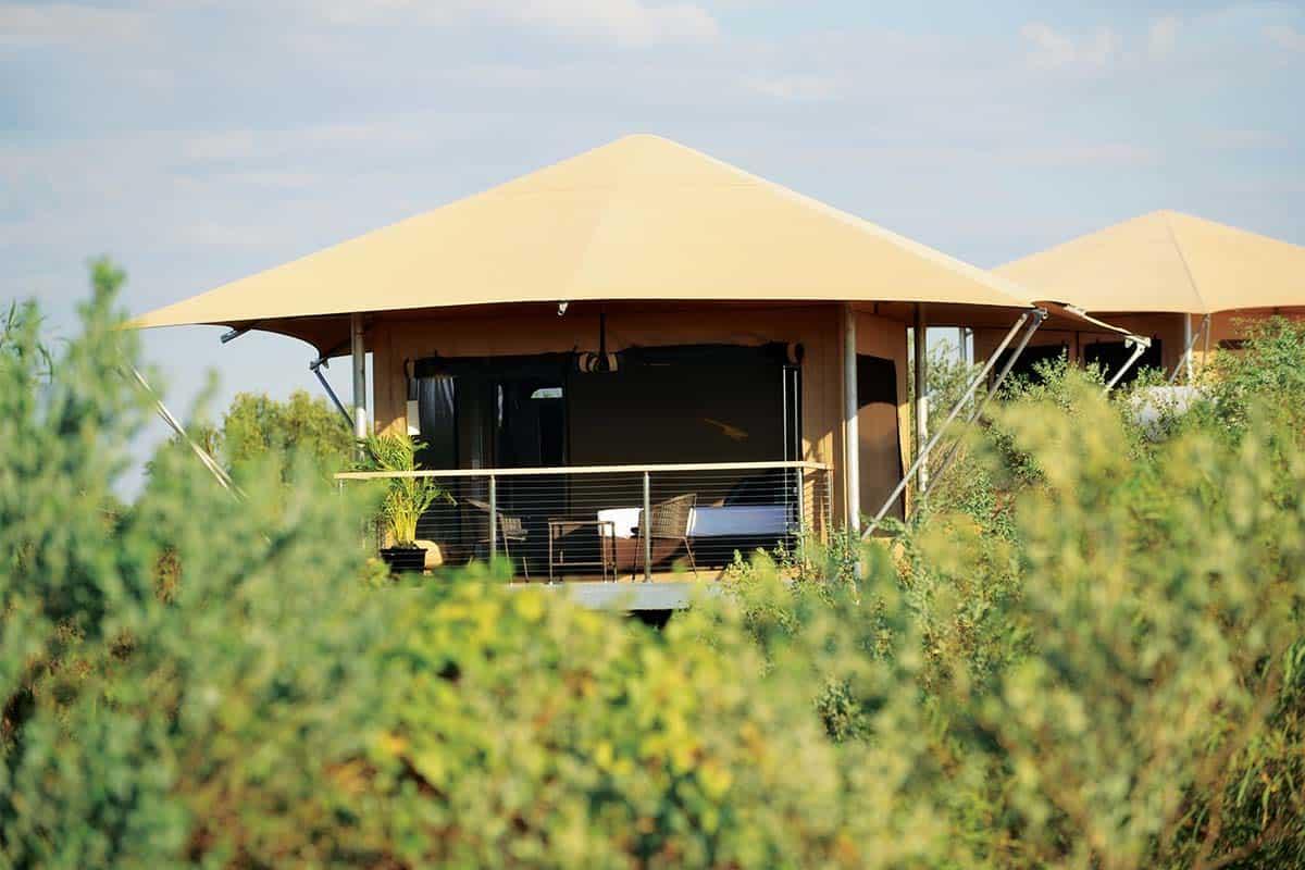 Ramada Eco Retreat. Eco tent rising up from the bush